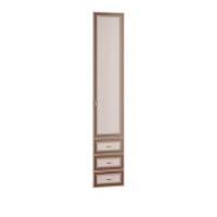 Дверь с ящиком 06.25-03 Миндаль вудлайн кремовый/ аруша венге кожа коричневая