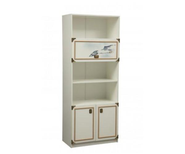 Шкаф комбинированный Севилья-18 белый/профиль канат золотой