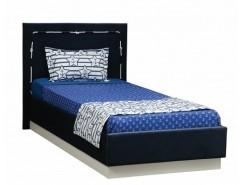 Кровать одинарная Севилья-15 с настилом ягуар нэви/микровелюр якорь