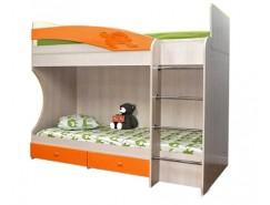 Кровать двухъярусная Адель - 1 дуб линдберг/ оранжевый металлик