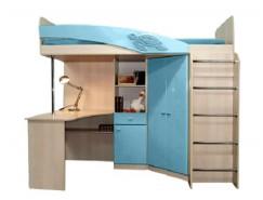 Кровать двухъярусная Адель - 2 дуб линдберг/ голубой металлик