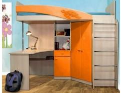 Кровать двухъярусная Адель - 2 дуб линдберг/ оранжевый металлик