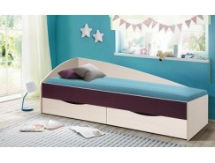 Кровать односпальная Фея-3 (асиметричная) вудлайн кремовый/баклажан