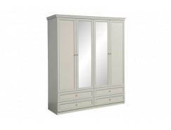 Шкаф для одежды 40.01 Эльмира белый/ белая кожа патина