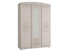 Шкаф для одежды 3-х дверный Каролина с зеркалом вудлайн кремовый/ сандал белый