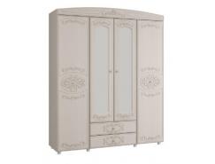 Шкаф для одежды 4-х дверный Каролина с зеркалом вудлайн кремовый/ сандал белый