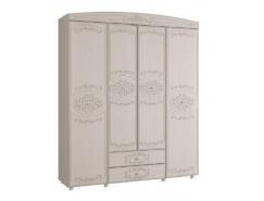 Шкаф для одежды 4-х дверный Каролина вудлайн кремовый/ сандал белый
