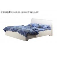 Кровать Мона 06.297 (1600 мм) с откидным механизмом (механизм в комплект не входит) вудлайн кремовый/кожзам Глянец крокодил белый