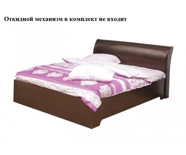 Кровать Мона 06.298 (1400 мм) с откидным механизмом (надо откидной мех.) венге/кожзам Глянец крокодил коричневый