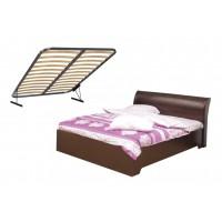 Кровать Мона 06.298 (1400 мм) + откидной механизм венге/кожзам Глянец крокодил коричневый