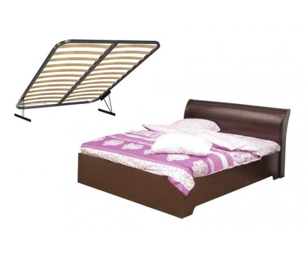 Кровать Мона 06.297 (1600 мм) + откидной механизм венге/кожзам Глянец крокодил коричневый