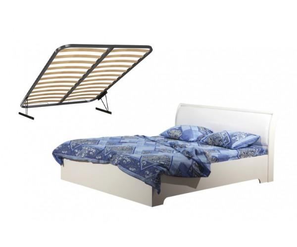 Кровать Мона 06.298 (1400 мм) + откидной механизм вудлайн кремовый/аруша венге/кожзам Глянец крокодил белый