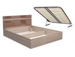 Кровать Ненси 1.4 + ортопед. основание  с подъемным мех. 1400х2000 ясень/какао перламутр глянец