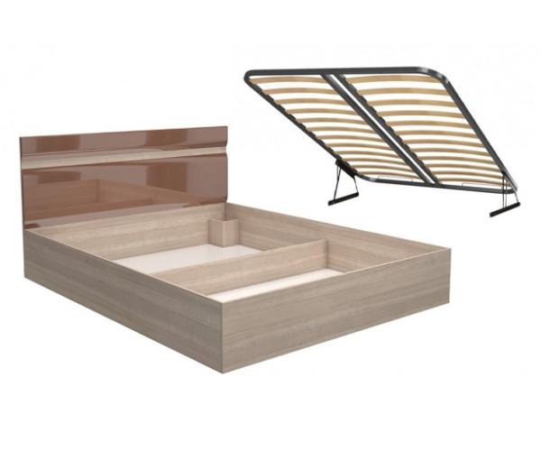 Кровать Ненси 1.6 + ортопед. основание  с подъемным мех. 1600х2000 ясень/какао перламутр глянец