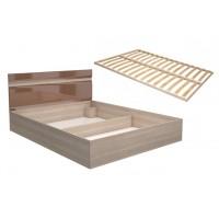 Кровать Ненси 1.6 + ортопед. основание 1600х2000 ясень/какао перламутр глянец