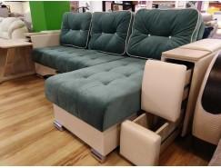 Акция! Угловой диван Престиж (ящик+столик) изумруд