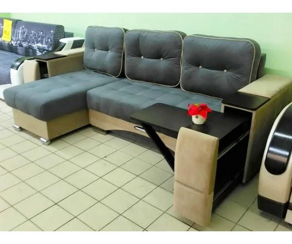 Угловой диван Престиж (ящик+столик) серый