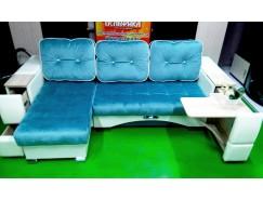 Акция! Угловой диван Престиж (ящик+столик) голубой
