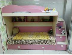 Кровать 2 этаж + тахта+лестница комод бежевый/фламинго