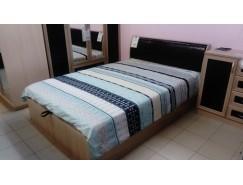 Кровать 1,4 Кэт-1 арт.033 ясень св./ Caiman коричневый с под.мех