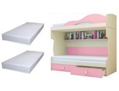 Кровать 2 этаж. Радуга + тахта+2 матраса бежевый/фламинго