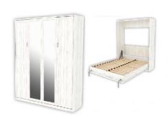 Кровать подъемная 1600 мм (вертикальная) К04+2 зеркала арктика