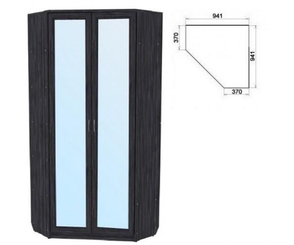 Шкаф угловой со штангой и полками 401+2 зеркала 3100 графит