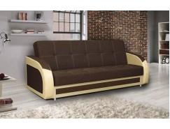Диван-кровать Феникс ткань рогожка коричневая / кож.зам бежевый