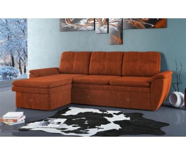 Диван-кровать угловой Турин ткань микровельвет гавайи бордо