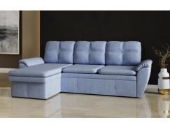 Диван-кровать угловой Турин ткань микровельвет голубой