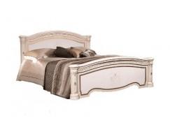 Кровать 2-х спальная 1,6 м  (2 спинки-шелкография) Карина 3 бежевый К3КР-1(Л)[1]