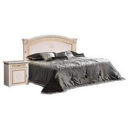 Кровать 2-х спальная без лежака, без матраца (1 спинка - шелкография) Карина 3 бежевый К3КР-2(Л)[1]