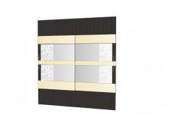 Двери-купе Арго №24 (1004) венге/зеркало с пескоструем/стекло планилак бежевый