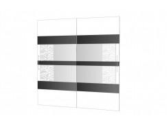 Двери-купе Арго №24 (750) белый/зеркало с пескоструем/стекло планилак черный