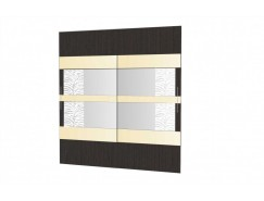 Двери-купе Арго №24 (750) венге/зеркало с пескоструем/стекло планилак бежевый