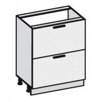Кухня Эко напольная 600 2 ящика FMP 1201-R белый шелк / FMP 1998-10 венге