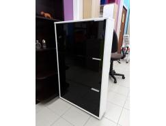 Тумба для обуви Viva - 3 белый ЛДСП/черное стекло