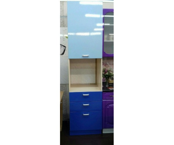 Пенал кухонный голубой металлик/синий металлик