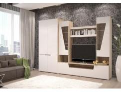 Гостиная Анталия-2 (шкаф 2х ств.+тумба+надстройка) сонома/белый софт