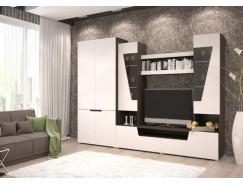 Гостиная Анталия-2 (шкаф 2х ств.+тумба+надстройка) венге/белый софт