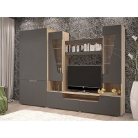 Гостиная -2+ шкаф (шкаф 2х ств.+тумба+надстройка) сонома/графит софт