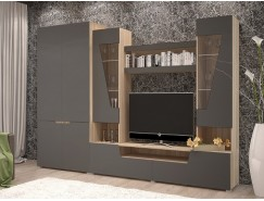 Гостиная Анталия-2 (шкаф 2х ств.+тумба+надстройка) сонома/графит софт