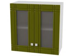 Кухня Сити глянец витрина 600 серый/олива