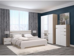 Спальня Анталия (кровать 1,6 м б/м б/о+2 тумбы+шкаф+комод) сонома/белый софт