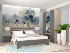 Спальня Анталия (кровать 1,6 м б/м б/о+2 тумбы) сонома/графит софт
