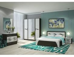 Спальня Валенсия (кровать 1,6 б/м б/о+комод+2 тумбы+зеркало) венге/арктик прованс