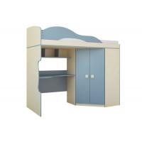 Радуга (кровать 2 этаж + шкаф) спальное место 800х2000 бежевый/василек