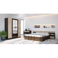 Спальня Леси (комод+тумба 2 шт.+кровать+шкаф) кантерберри/сонома