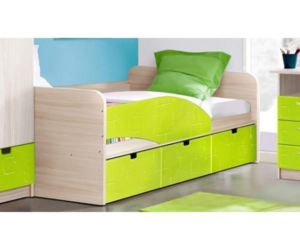 """Кровать - 3 """"Бриз"""" левая ясень шимо св./квадрат лайм"""