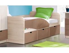"""Кровать - 3 """"Бриз"""" левая ясень шимо св./квадрат шоколад"""